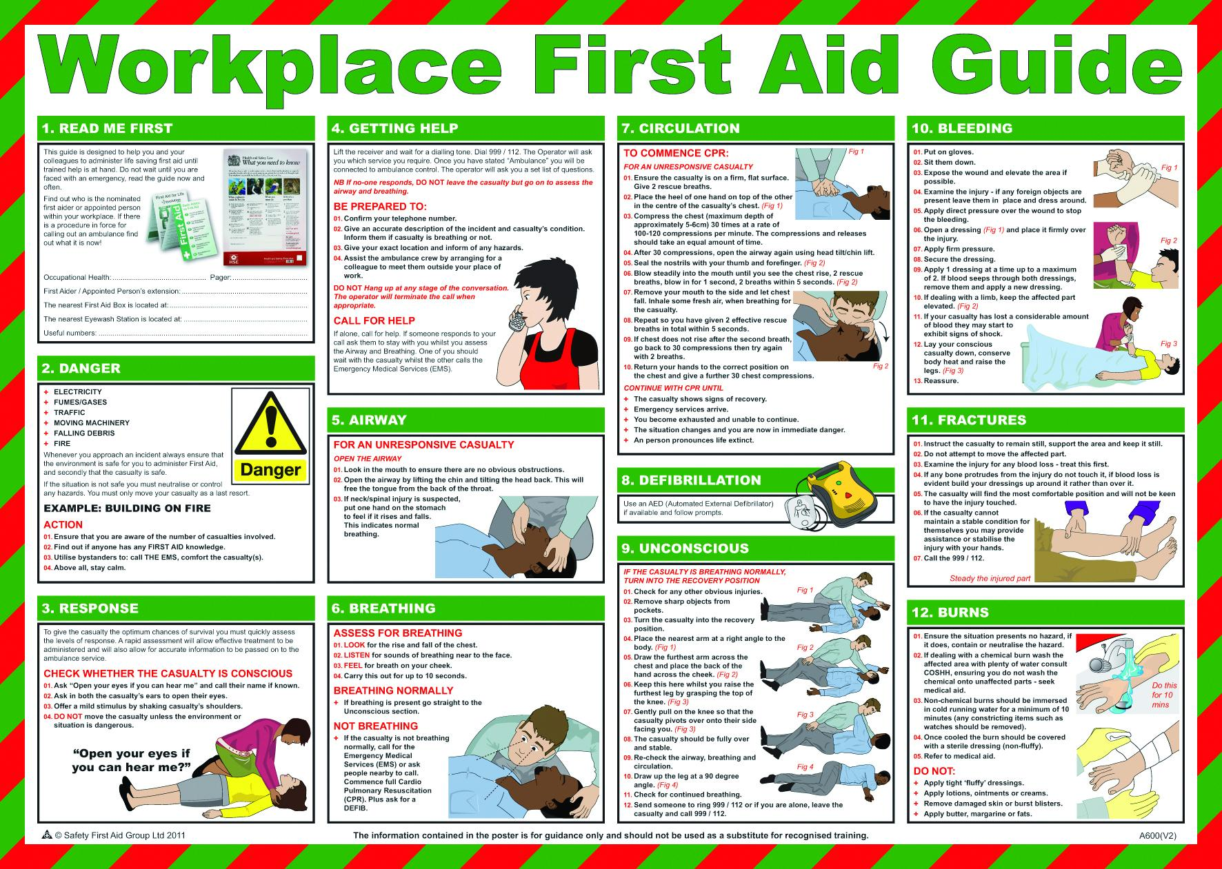 first aid treatment posters workplace first aid guide poster rh aid  training co uk first aid instructions poster first aid guide poster free  download