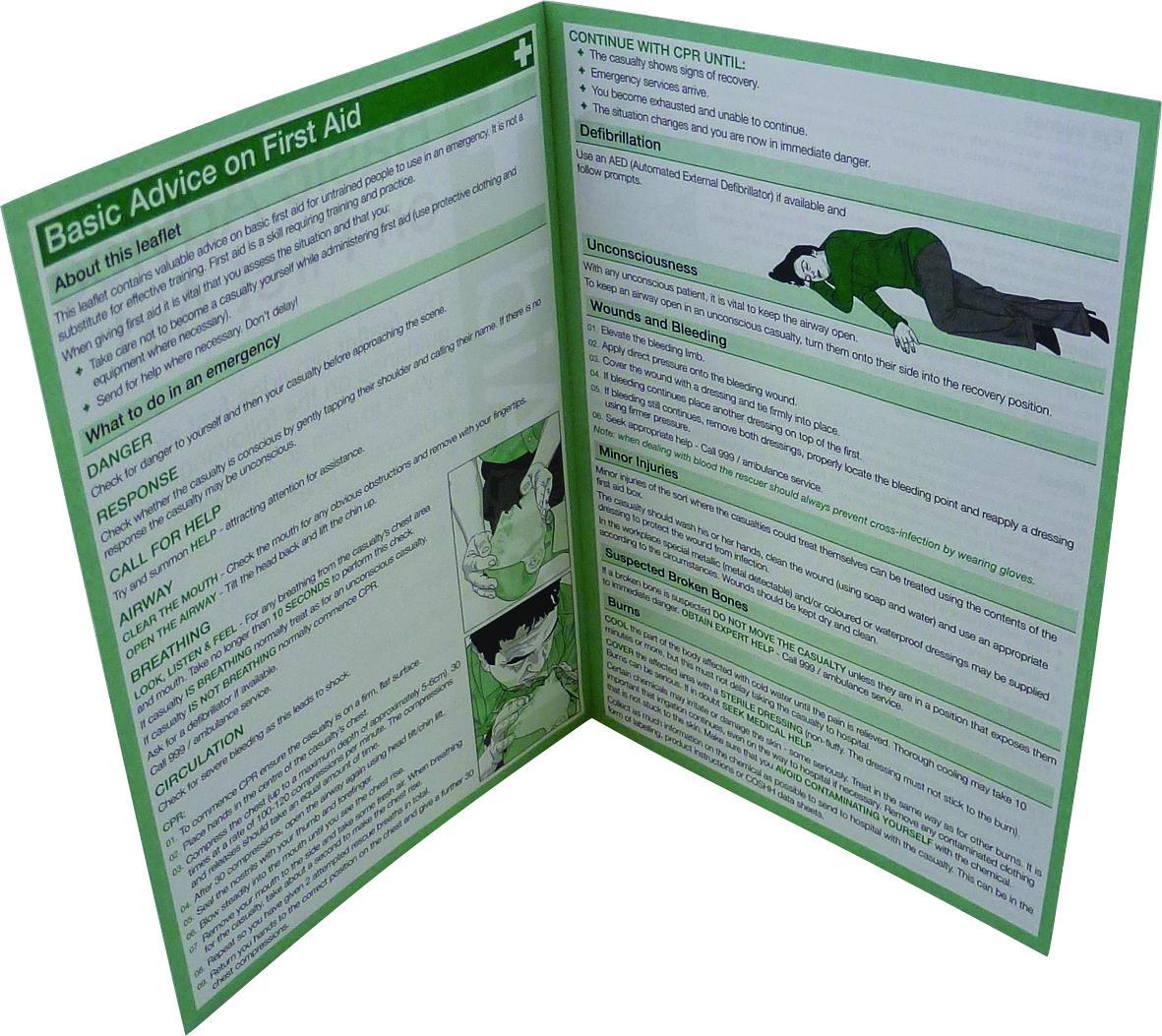 First Aid Guidance Leaflet Aid Training